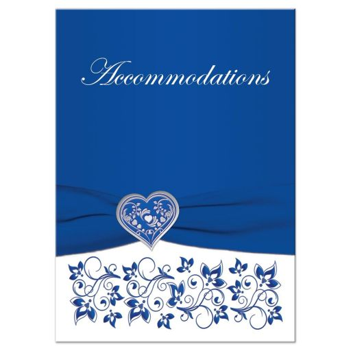 Royal Blue and White Floral Silver Heart Wedding Accommodations Card
