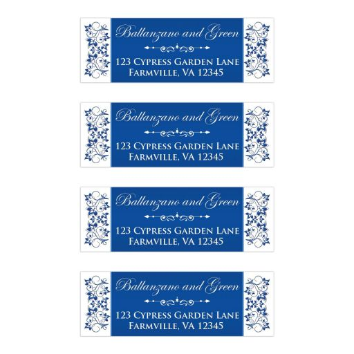 Royal Blue and White Floral Silver Heart Wedding Mailing Labels