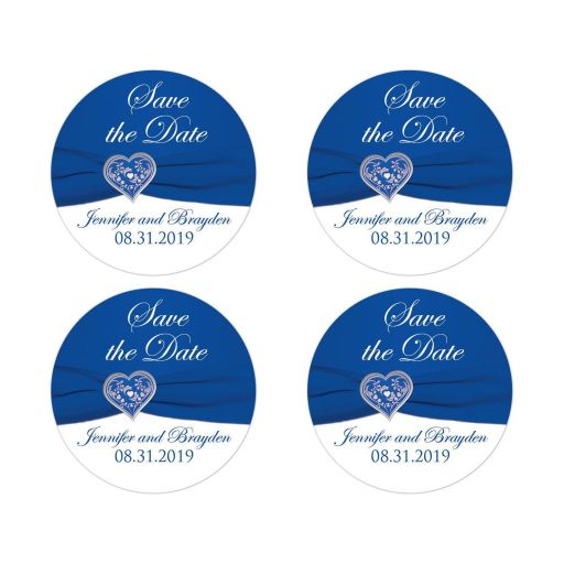 Royal Blue and White Floral Silver Heart Wedding Save the Date Stickers