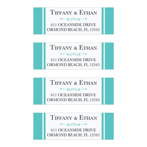 Tiffany blue white wedding return address labels