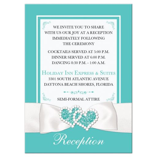Tiffany blue white ribbon jewels wedding reception card