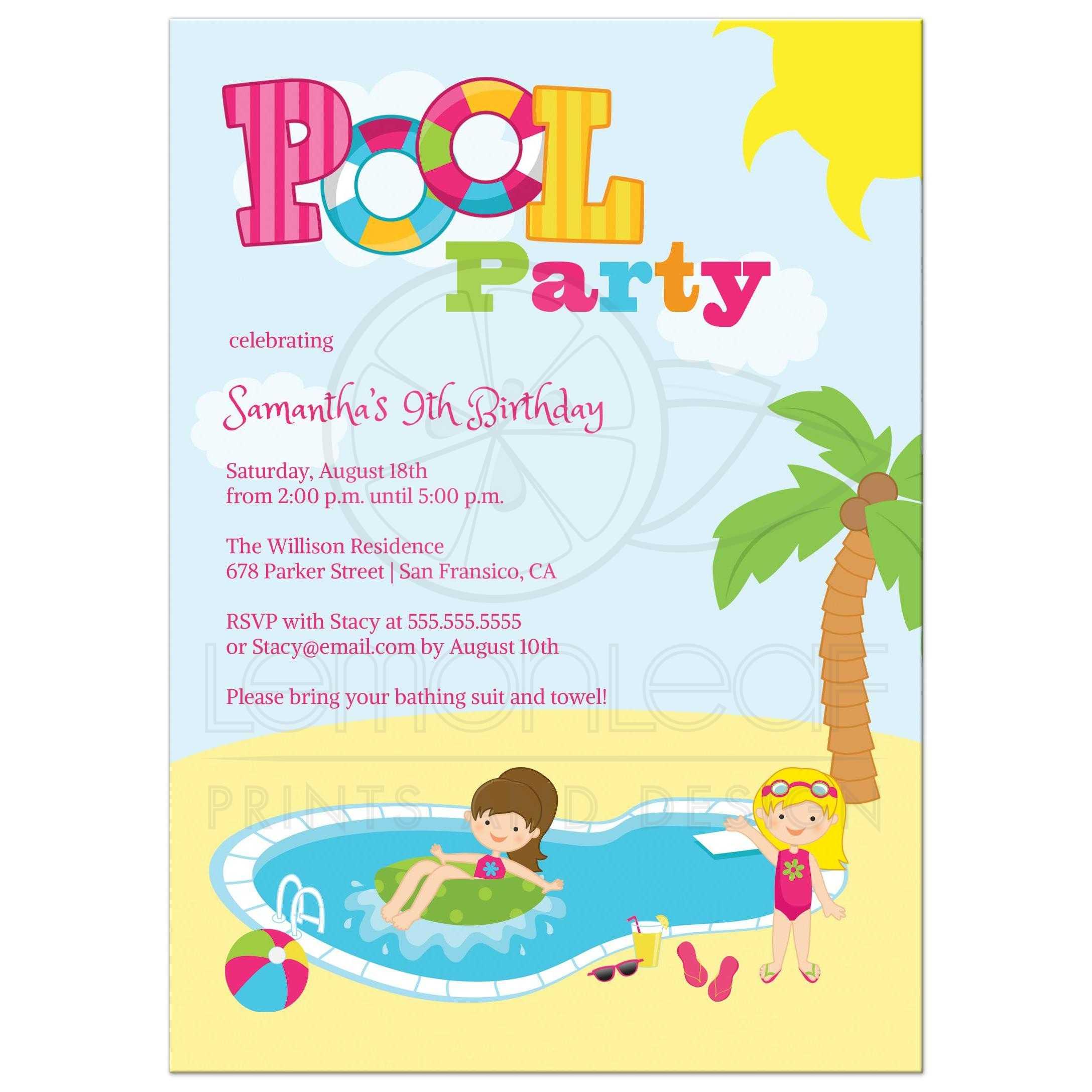 Pool Birthday Party Invitations