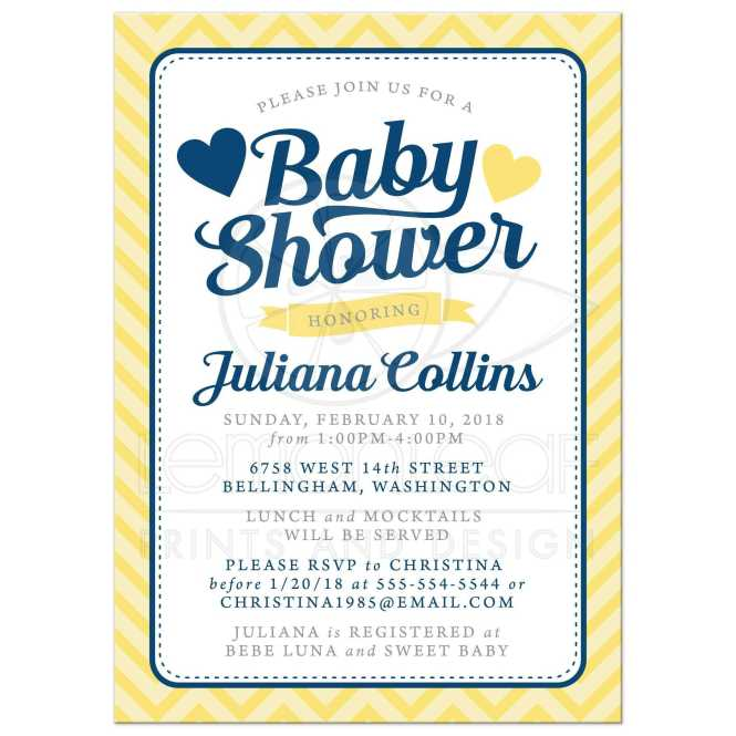 Gender Neutral Baby Shower Invitations Yellow Chevron Hearts