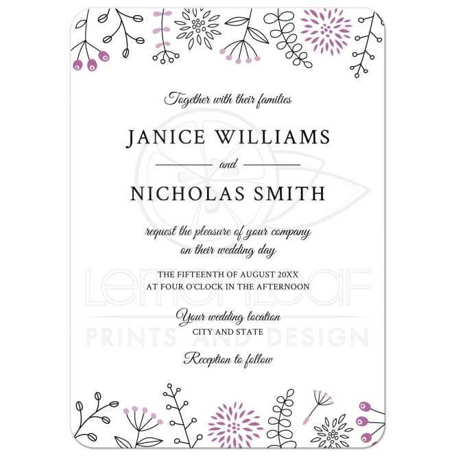 Purple Nature And Flower Doodle Border Modern Wedding Invitation