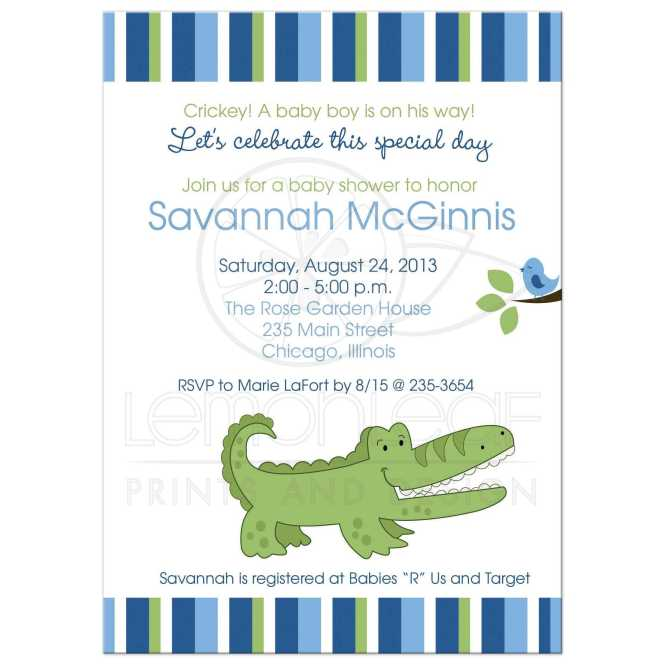 Green Striped Boy Baby Shower Invitation