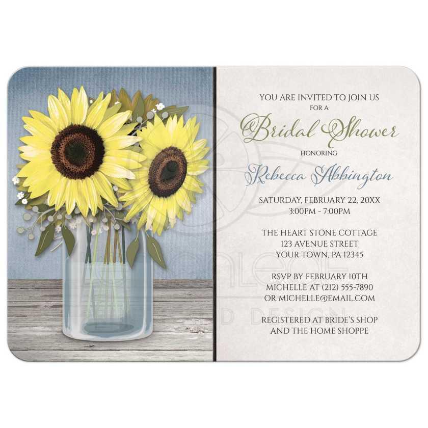 Bridal Shower Invitations Rustic Sunflower Blue Mason Jar