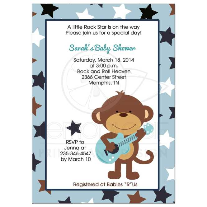 Guitar Boy Baby Shower Invitation
