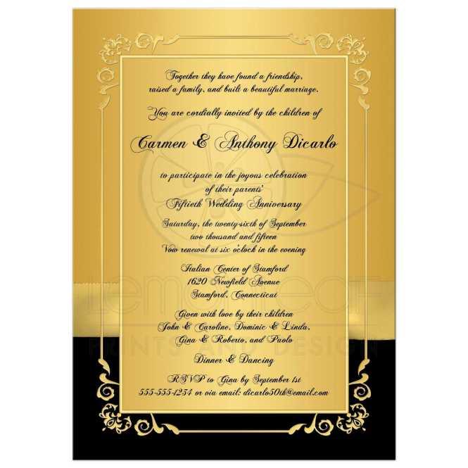 50th Wedding Anniversary Invitation Black And Gold Fl Printed Bow Photo
