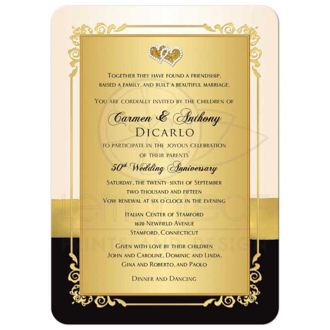 50th Anniversary Invite Ivory Black Gold Photo Printed Bow Joined Hearts Fl