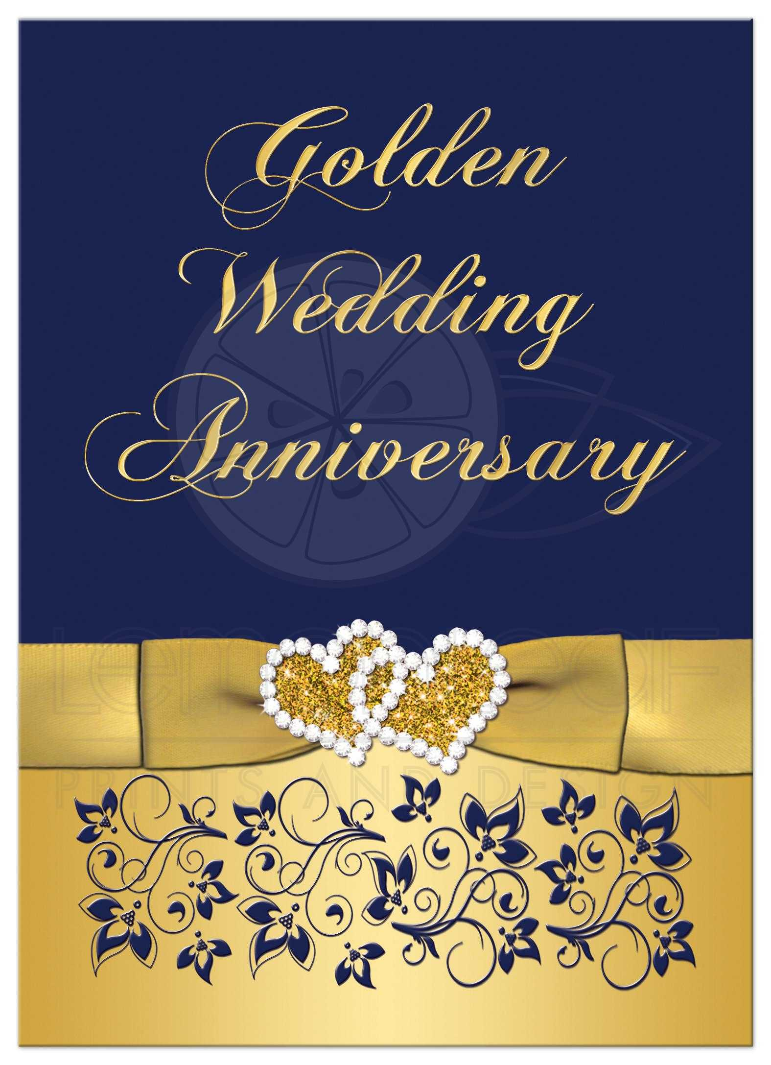 50th Wedding Anniversary Invitation  Navy and Gold Floral