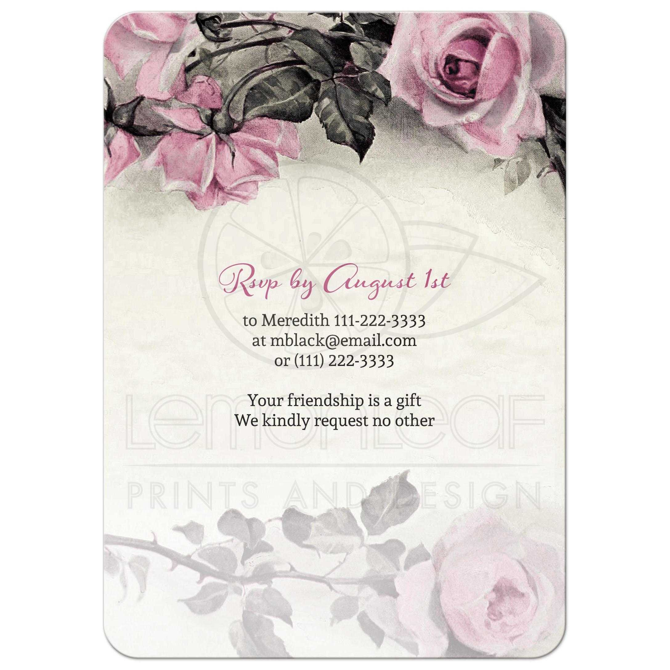 80th birthday invitation vintage pink grey rose