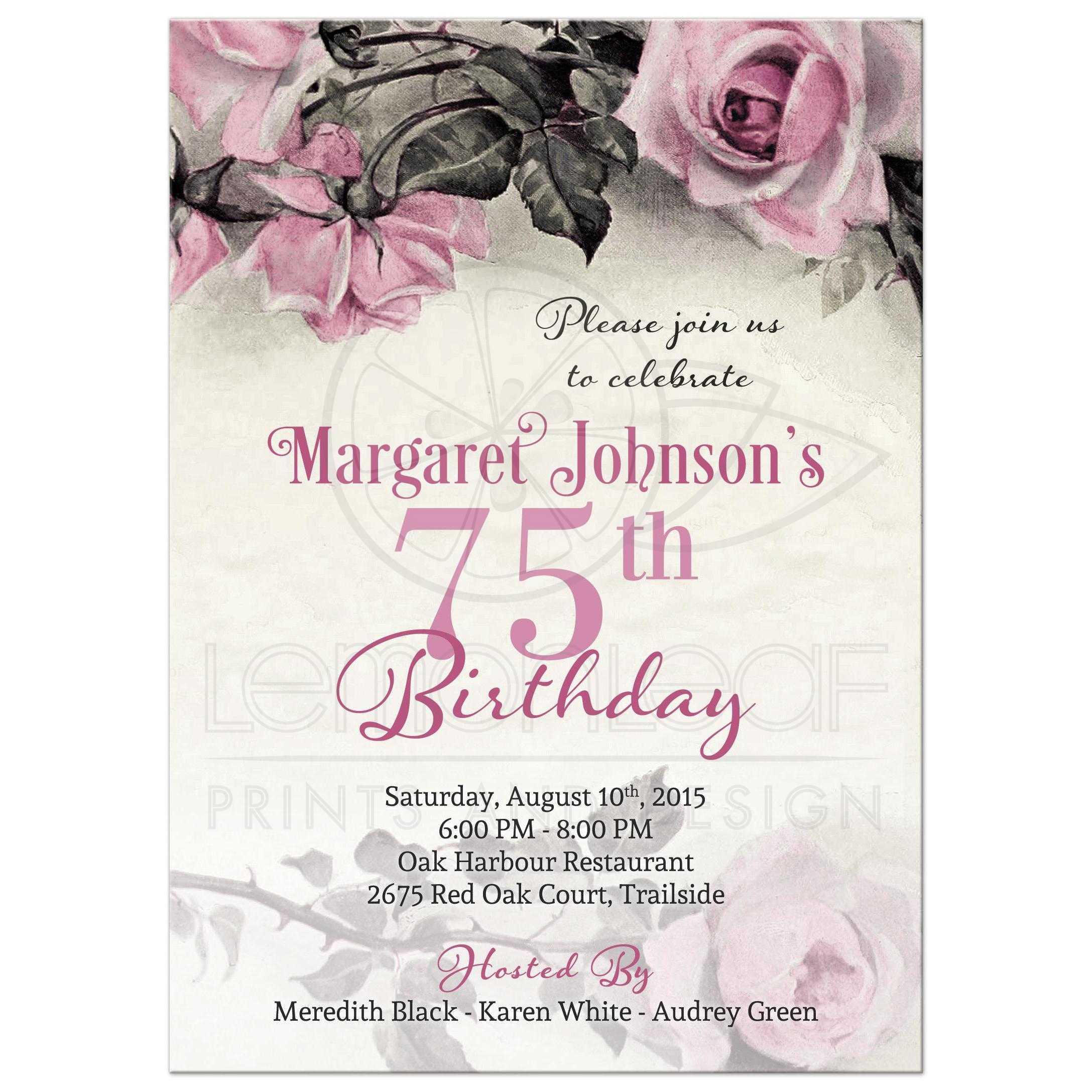 75th birthday invitation vintage pink grey rose