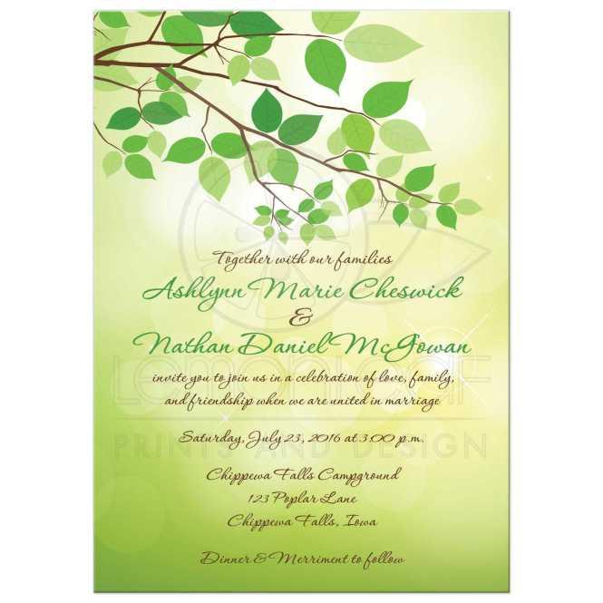 Wedding Invitation Green Leafy