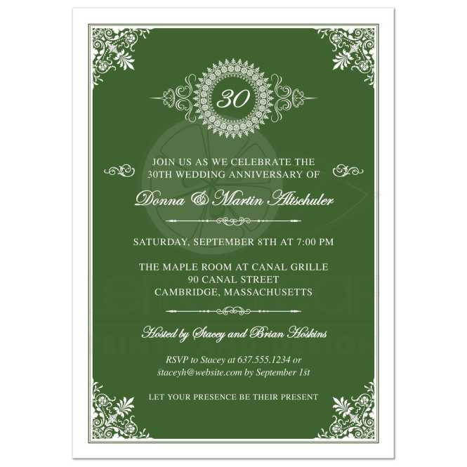 Wedding Anniversary Party Invitation Green 30th Ornate Medallion