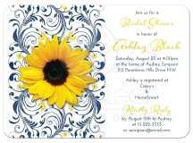 Bridal Shower Invitation | Sunflower Navy Blue Floral