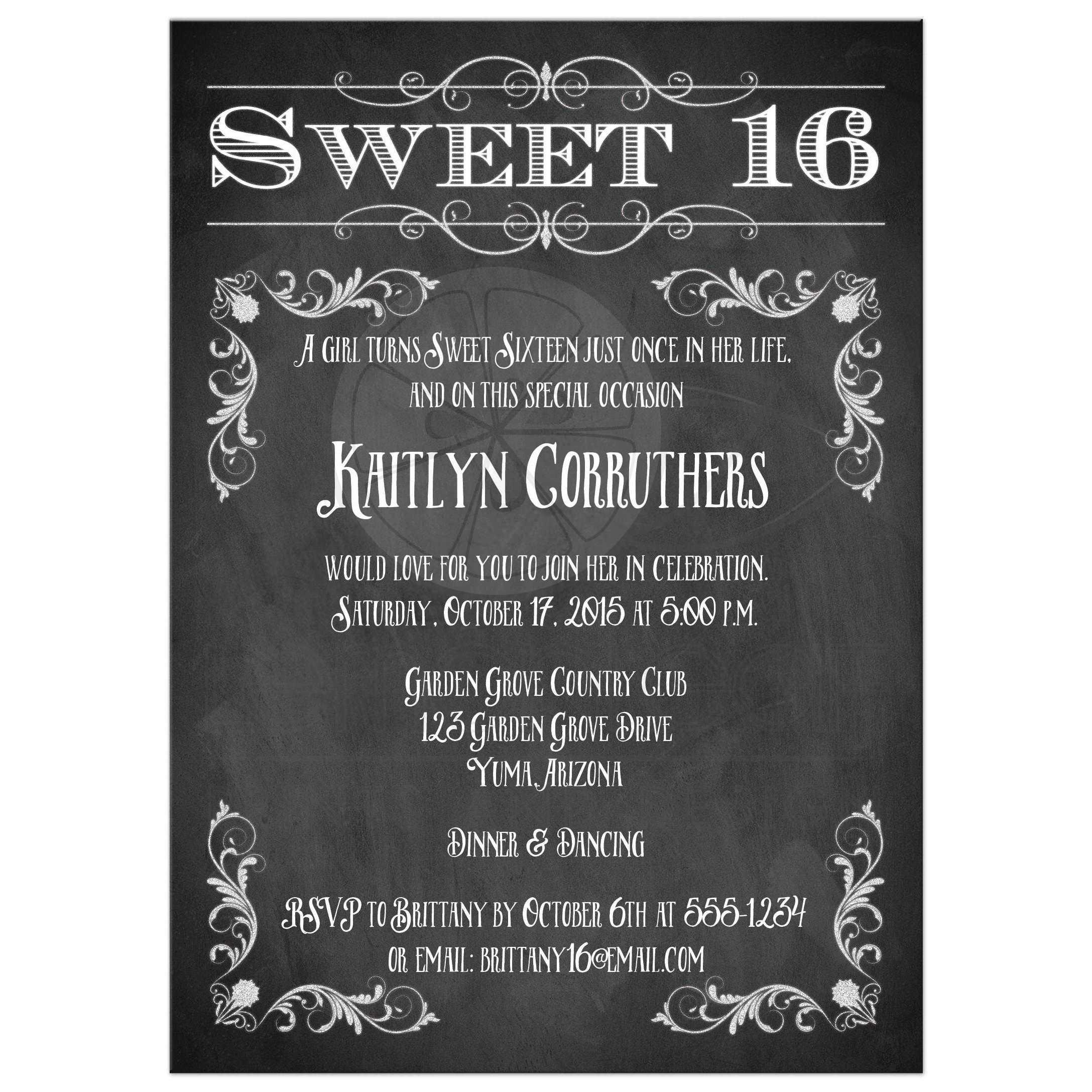 sweet 16 birthday invitation chalkboard vintage flourishes and scrolls