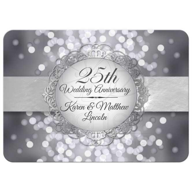 Anniversary Party Invitation Silver Bokeh Medallion