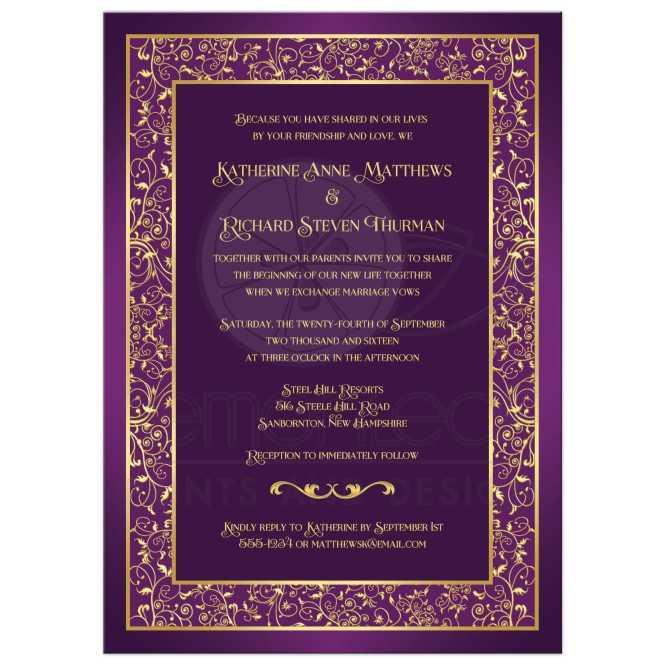 Wedding Invitation Purple Gold Ornate Scrolls Vines