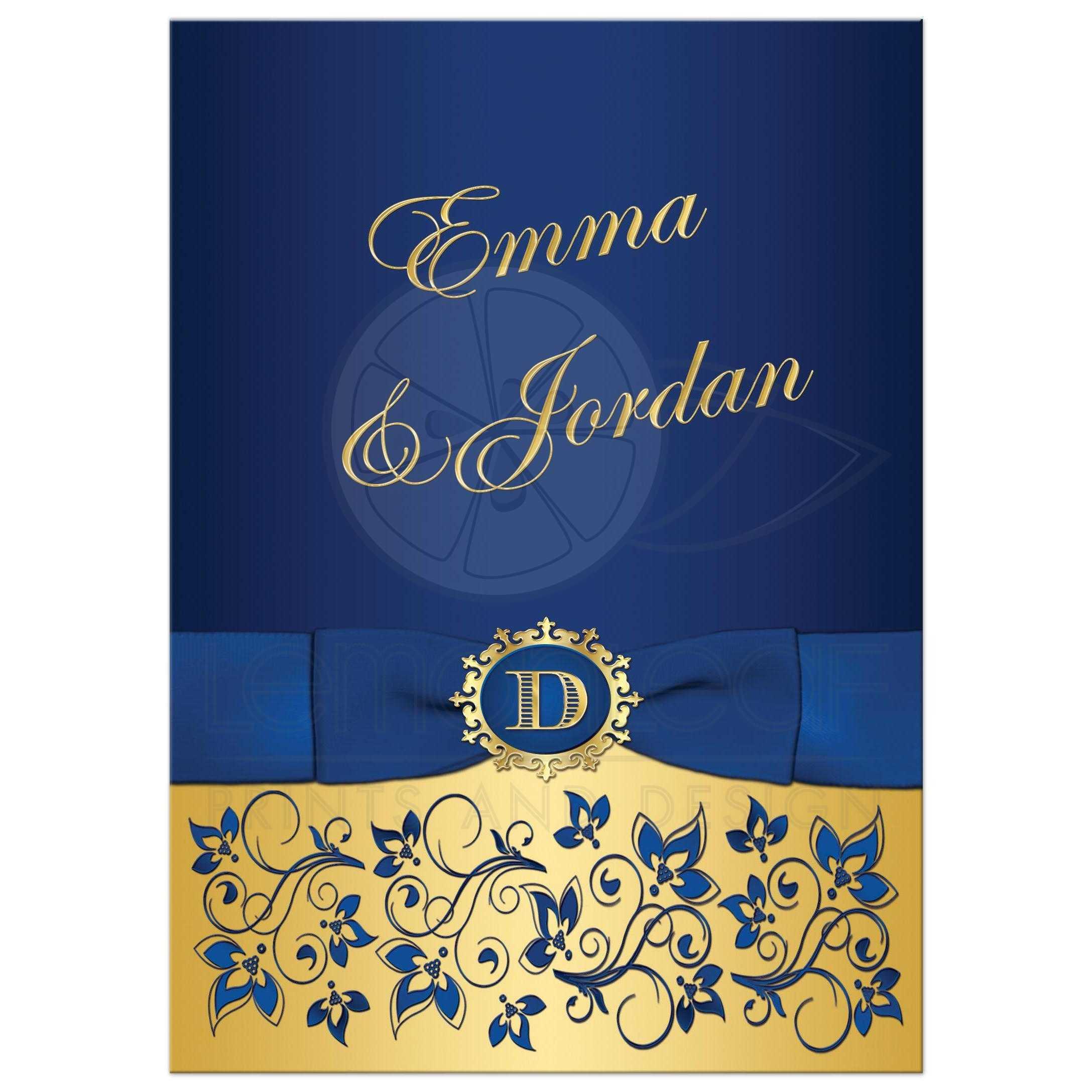 wedding invitation royal blue gold floral monogram printed ribbon