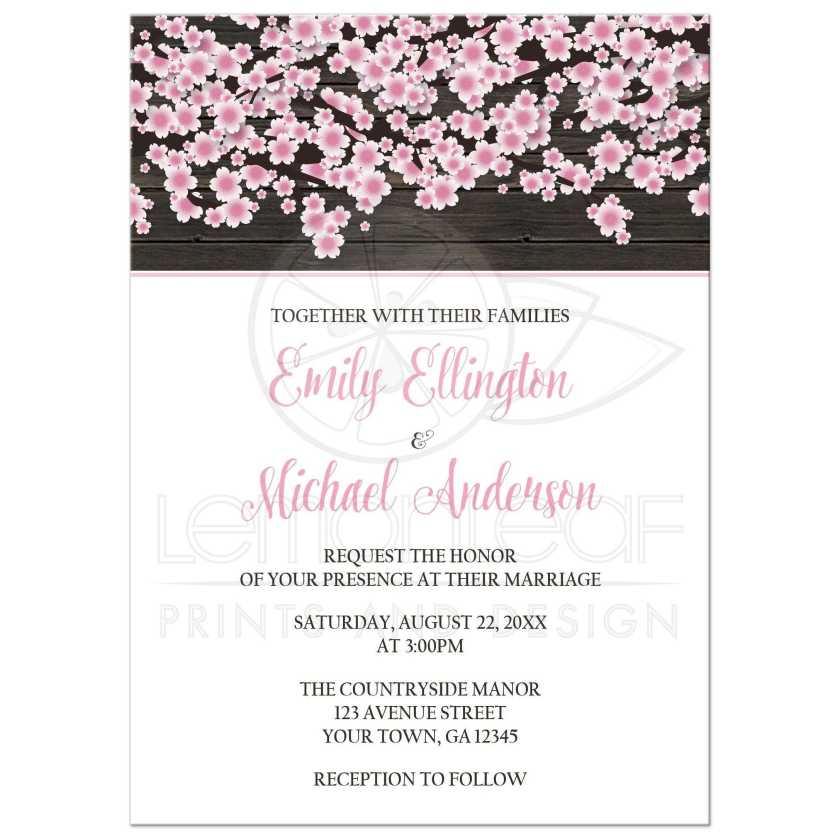 Wedding Invitations Cherry Blossom Rustic Wood White