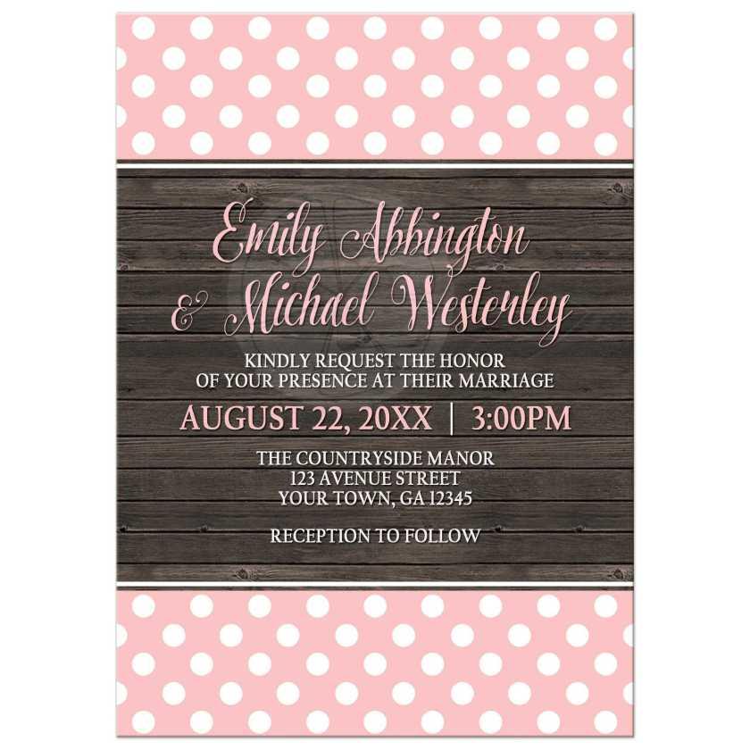 Wedding Invitations Blush Pink Polka Dot Rustic Wood