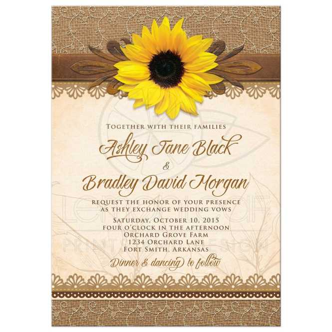 Wedding Invitation Template With Sunflowers