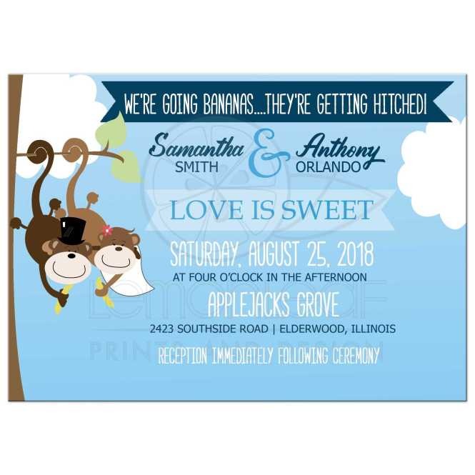 Cutest Monkey Wedding Invitations Casual Outdoor Invites