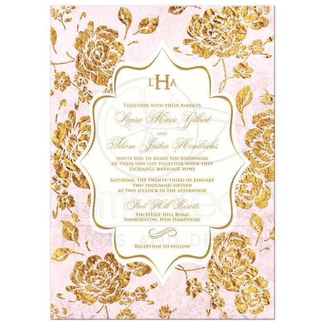 Wedding Invitation Vintage Fl Blush Pink Ivory Gold Leaf Faux Damask Monogram