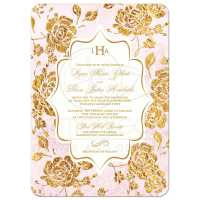 Wedding Invitation | Vintage Floral | Blush Pink, Ivory ...
