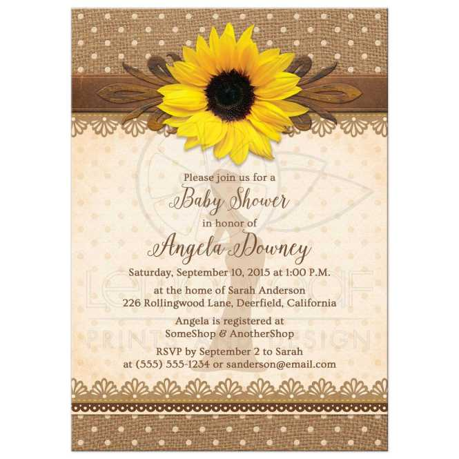 Baby Shower Invitation Rustic Sunflower Burlap Lace Polka Dot