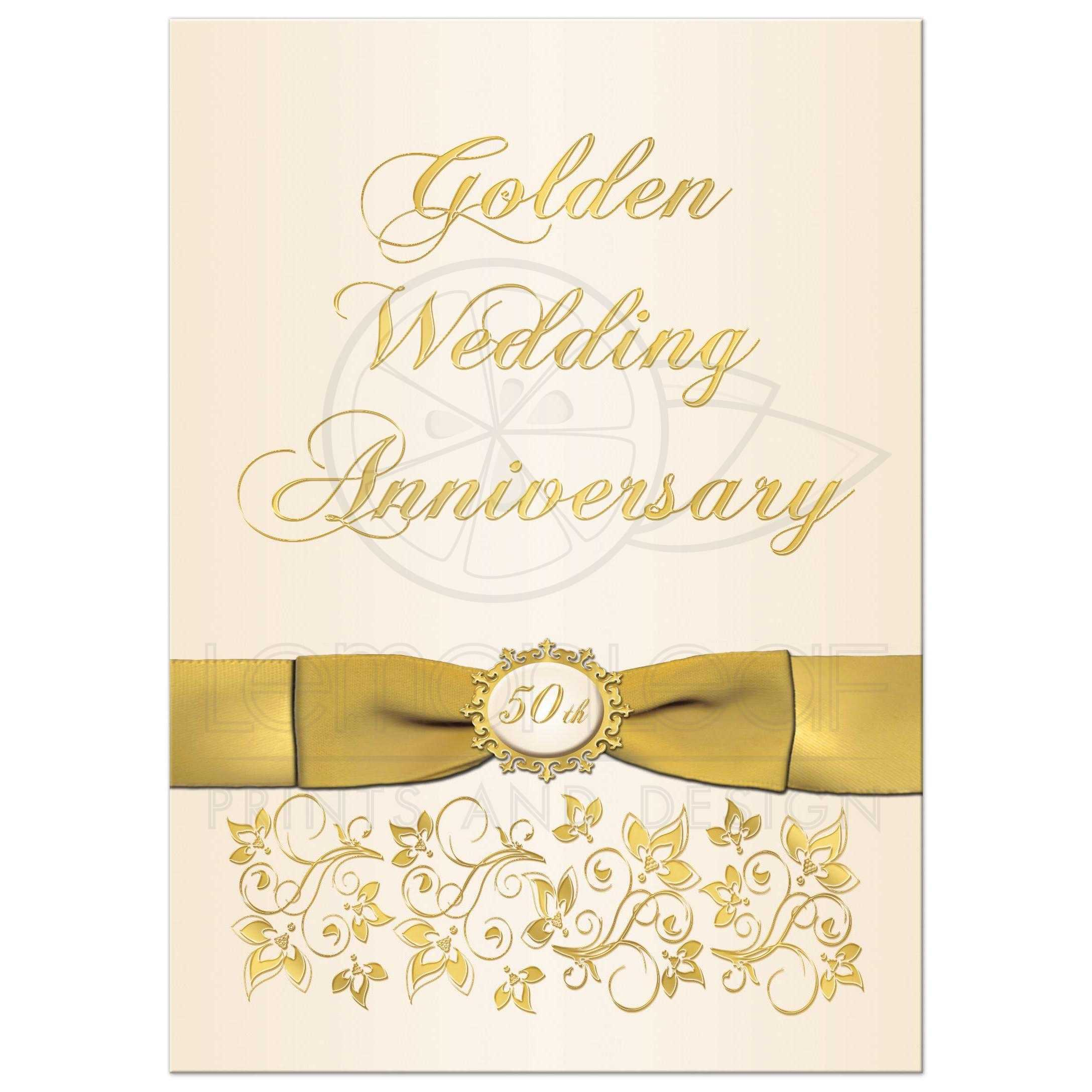 50th Wedding Anniversary Invitation  Ivory and Gold