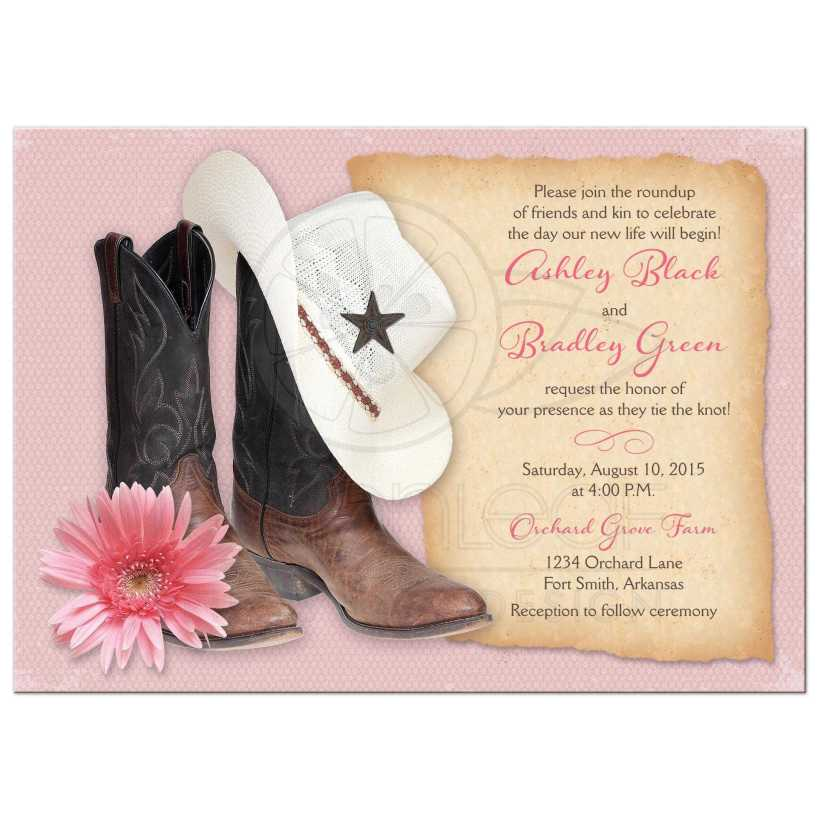 Cowboy Boots Hat And Pink Gerber Daisy Country Or Western Wedding Invitation Front