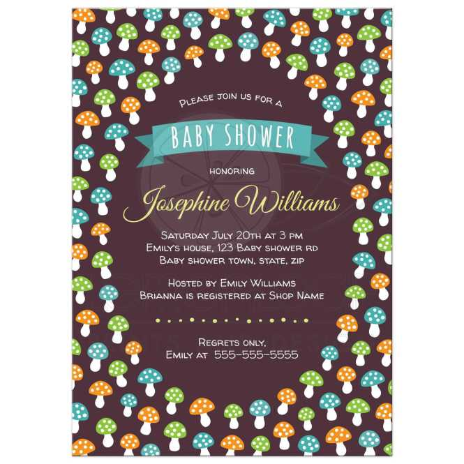 Cute Baby Shower Invitation With Green Orange And Blue Mushrooms Forest Woodland Theme