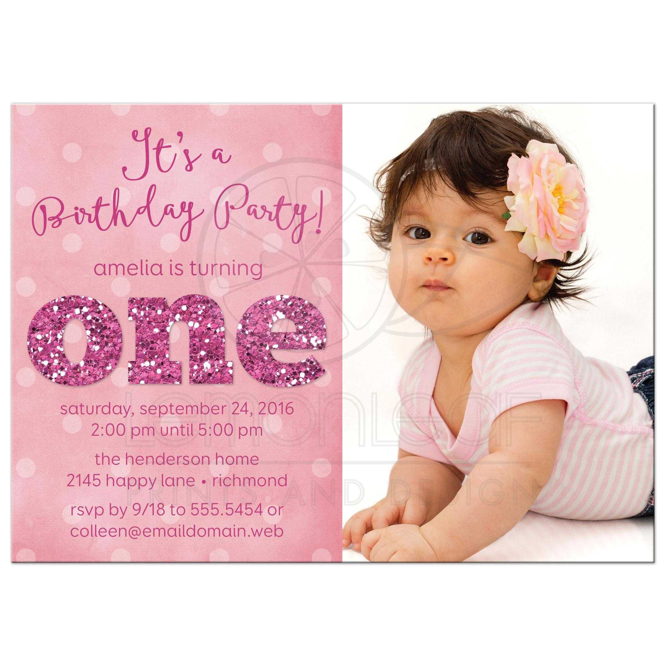1st birthday party card card design