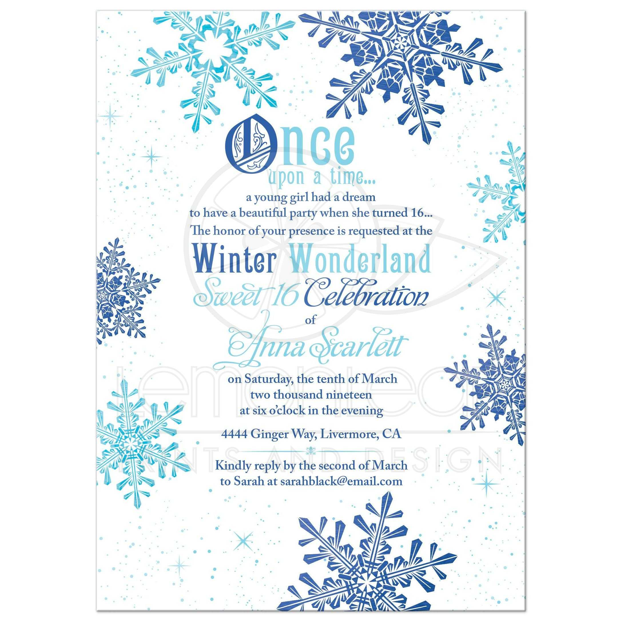 winter wonderland sweet 16 invitation once upon a time fairy tale