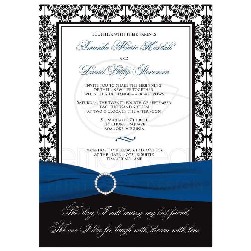 Best Black And White Damask Wedding Invitation With Royal Blue Ribbon Photo