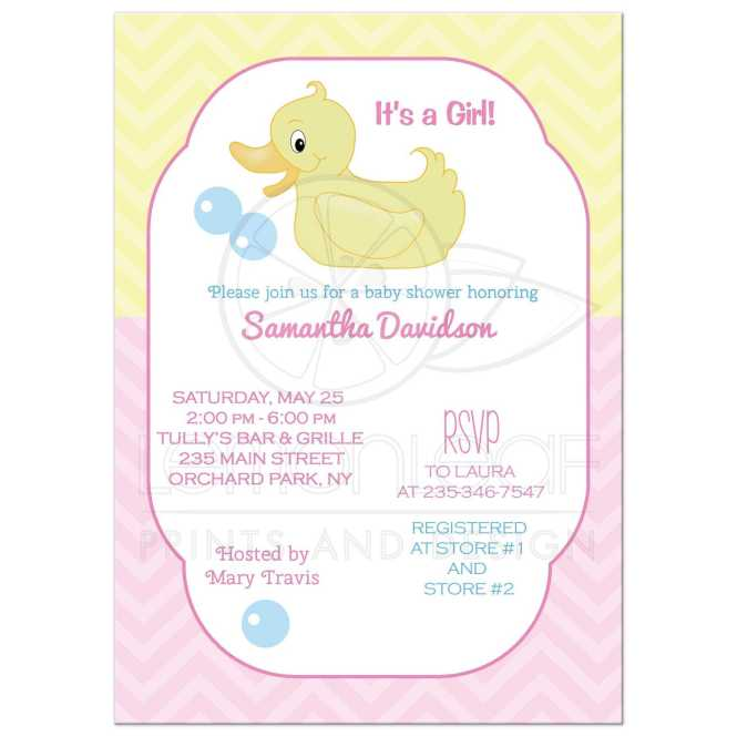 Yellow Duck Baby Shower Invitations