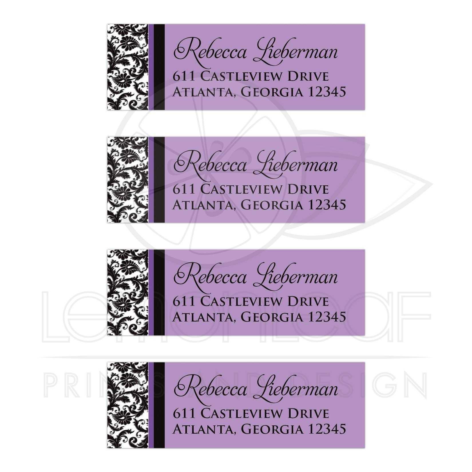 purple return address labels