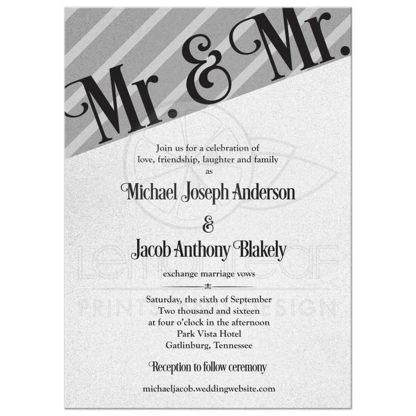 Silver And Black Mr Wedding Invitation Front