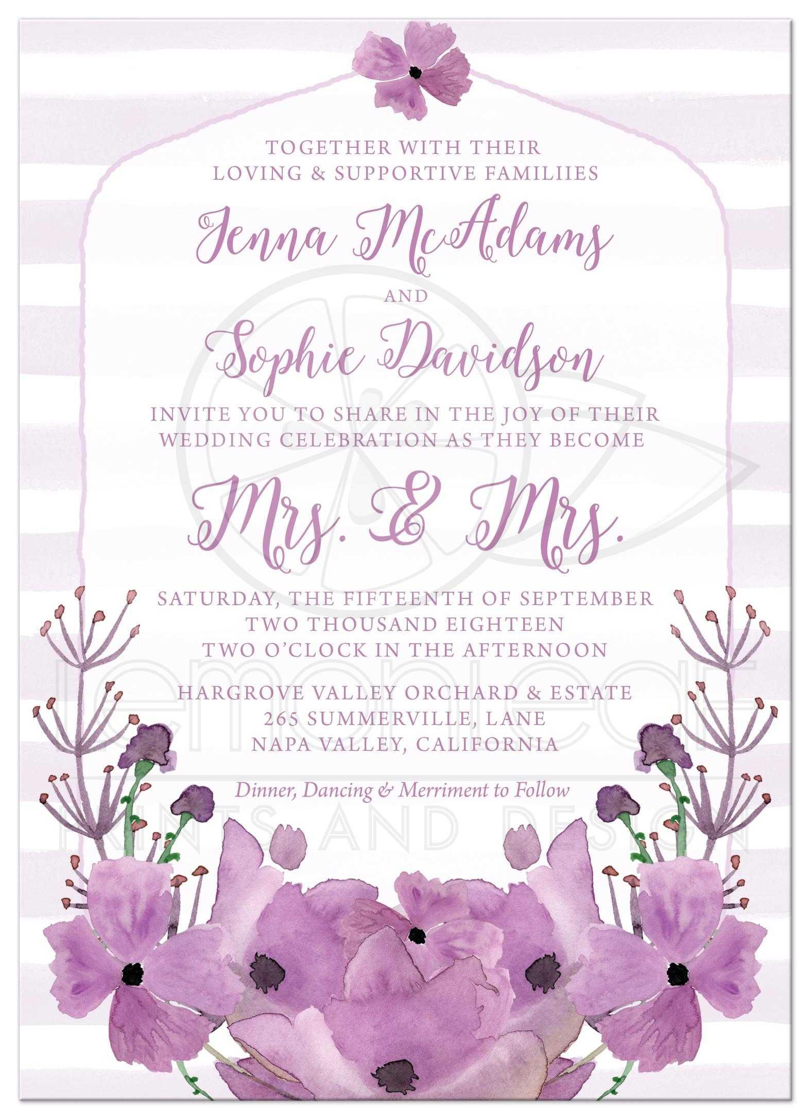 Same Sex Lesbian Wedding Invitations Mrs & Mrs Lovely