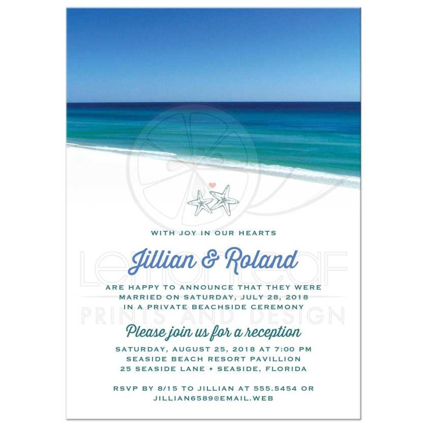 Beautiful Beach Scene Post Wedding Reception Only Invitations