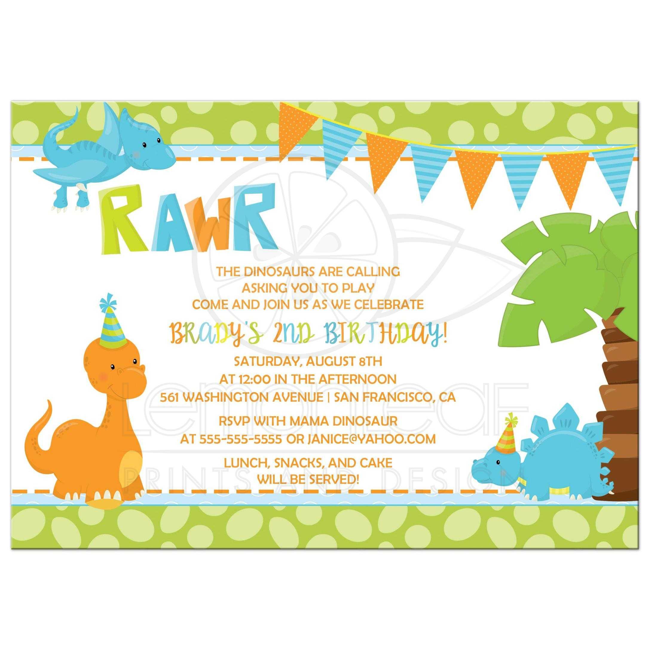 birthday party invitation boy dinosaur in orange blue and green