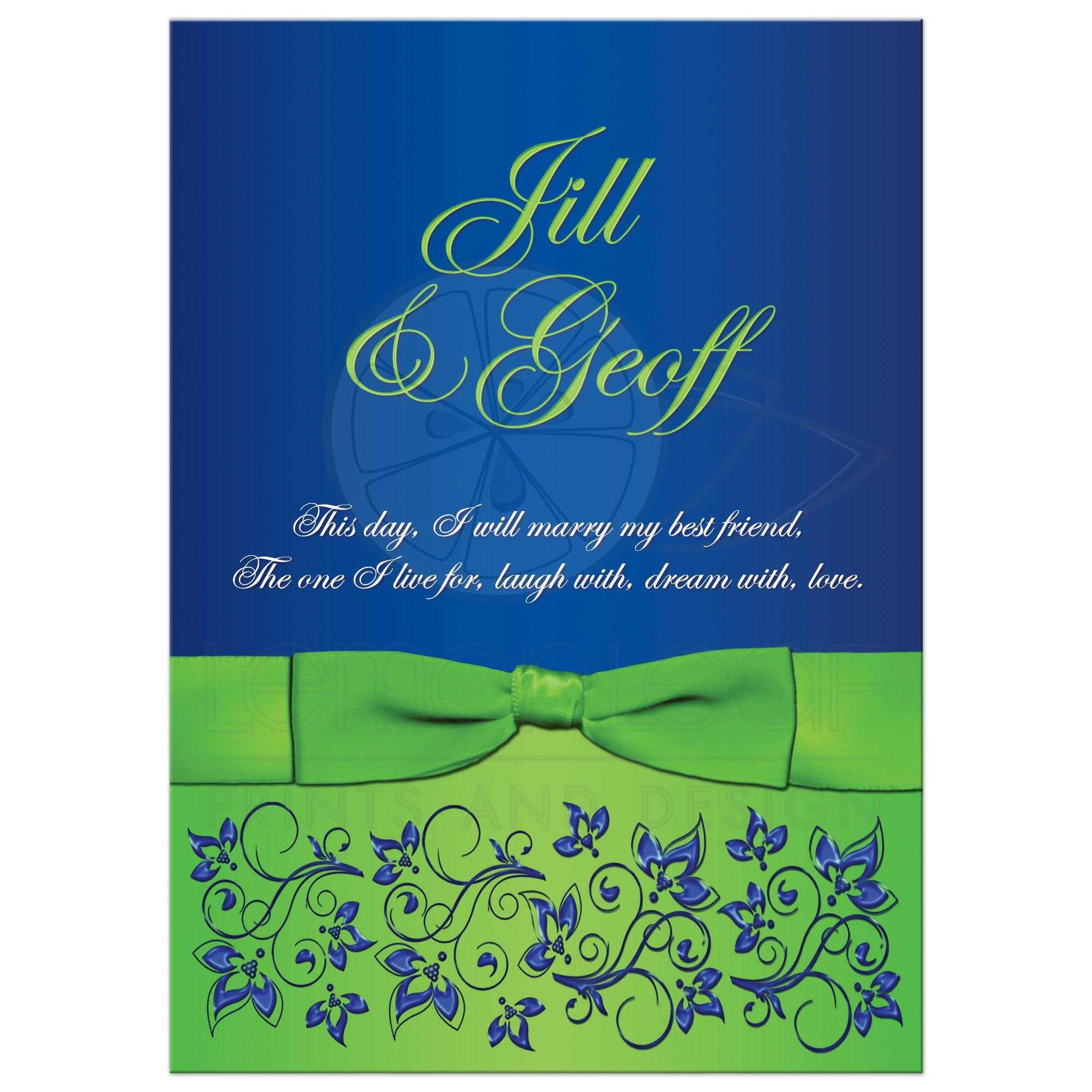 Wedding Invitation  Royal Blue Lime Green White Floral
