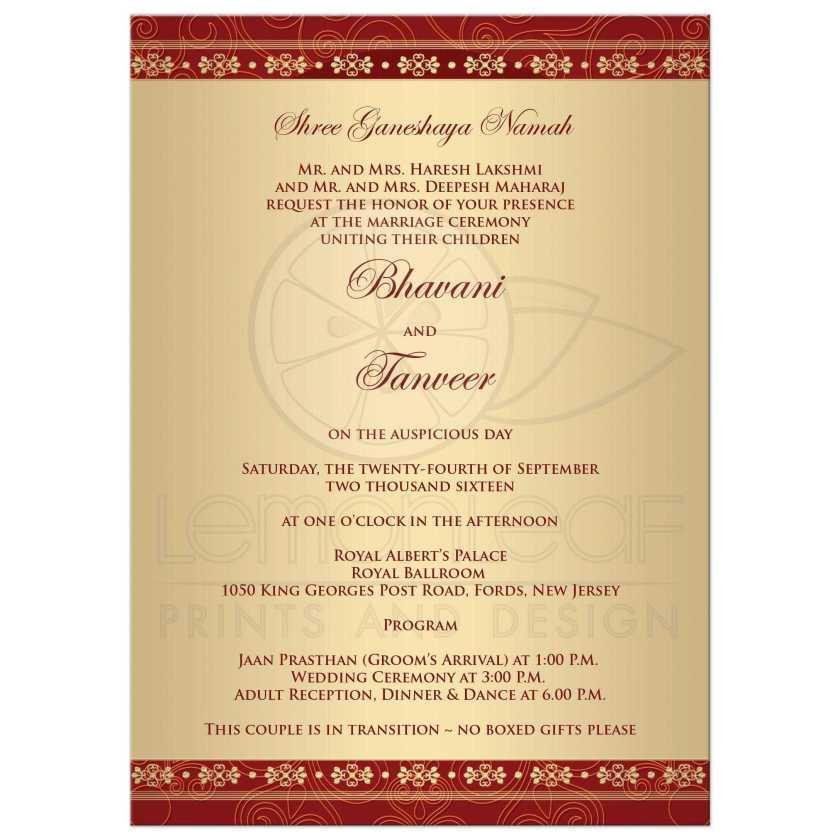 Sle Hindu Wedding Invitation Cards In English Ideas Ganesh Red Gold Scrolls