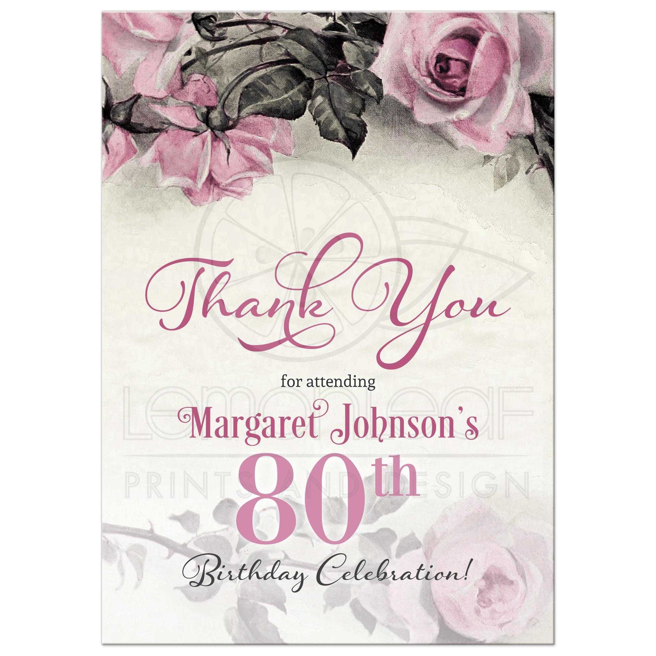 80th Birthday Thank You Card Vintage Pink Grey Rose