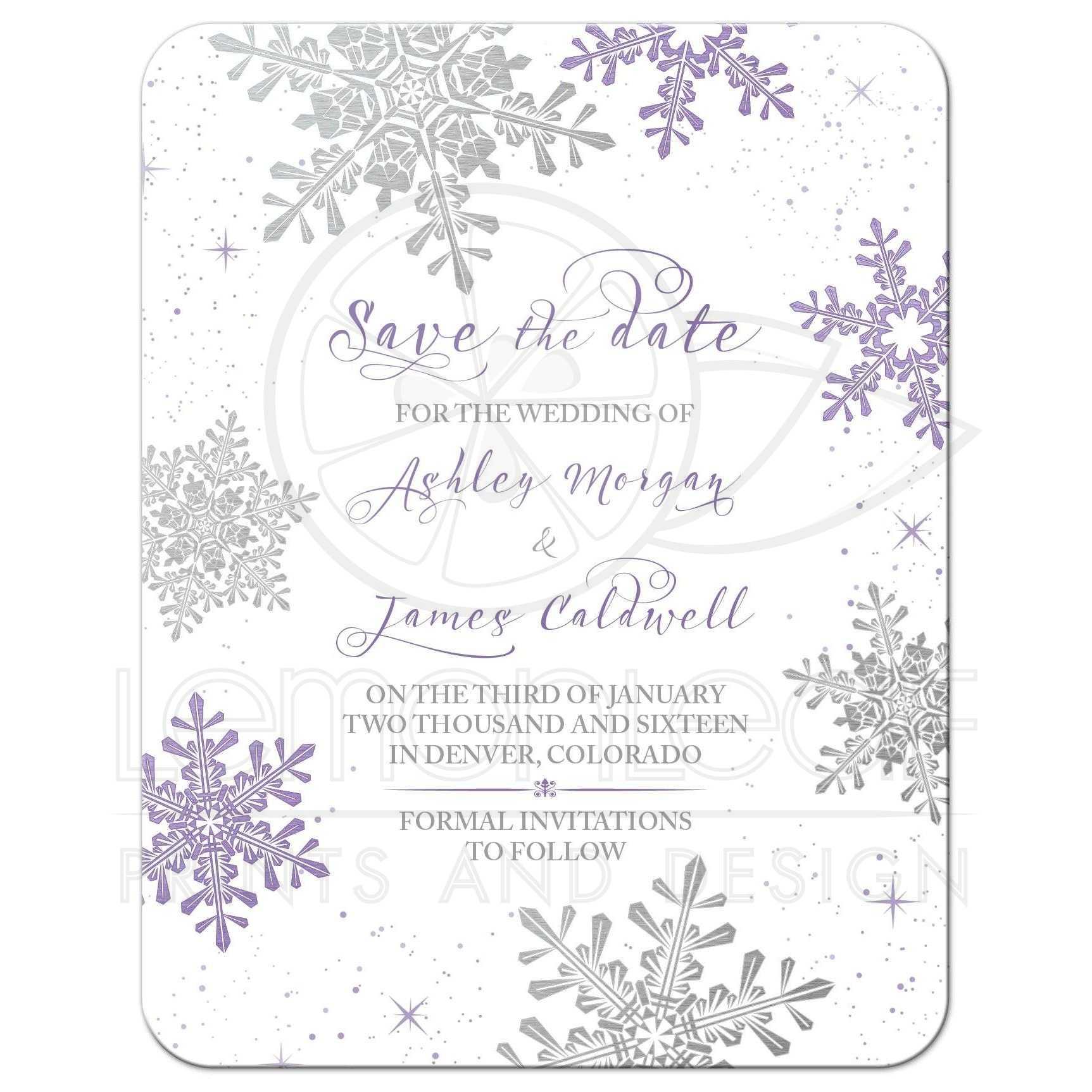 Purple Silver Winter Wedding Save the Date Invitation