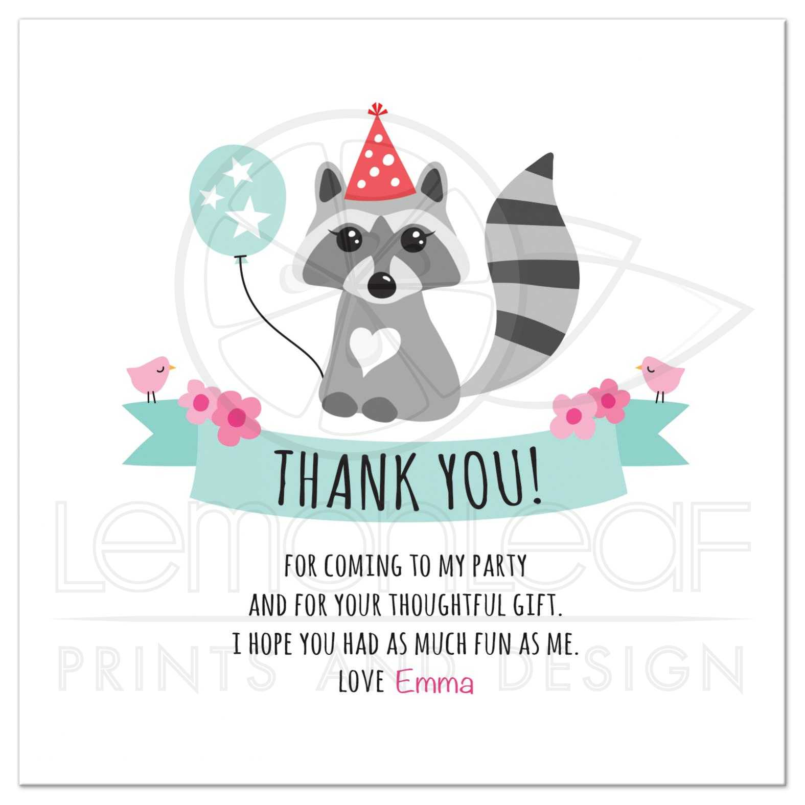 Cute Raccoon With Balloon And Party Hat Personalized Text