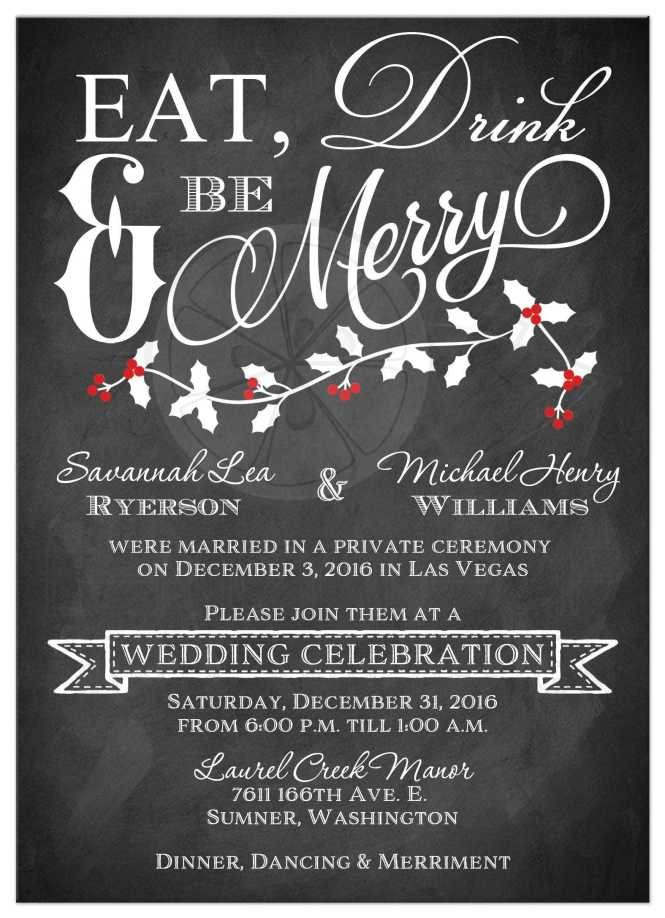 Winter Wedding Reception Invitation Eat Drink Be Merry Faux Chalkboard Holly Leaves Berries