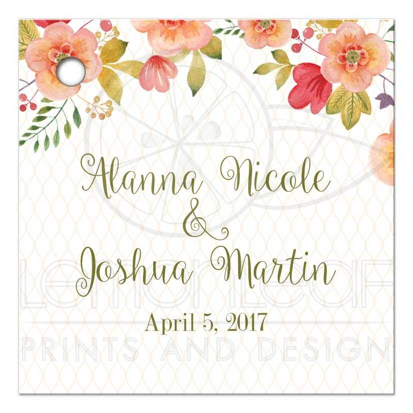floral wedding gift tag