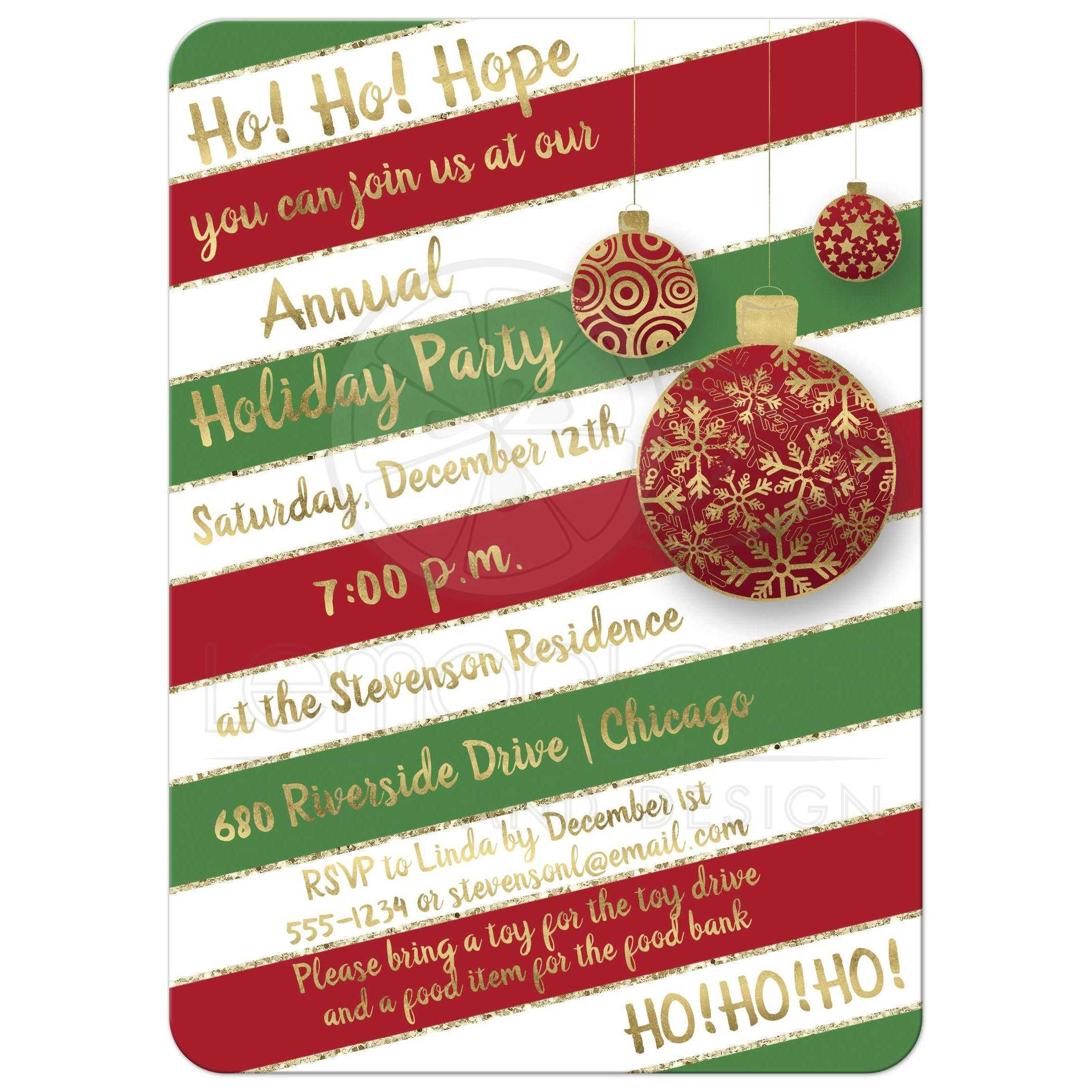 Holiday Party Invitation   Red, Green, White Candy Cane Stripes ...